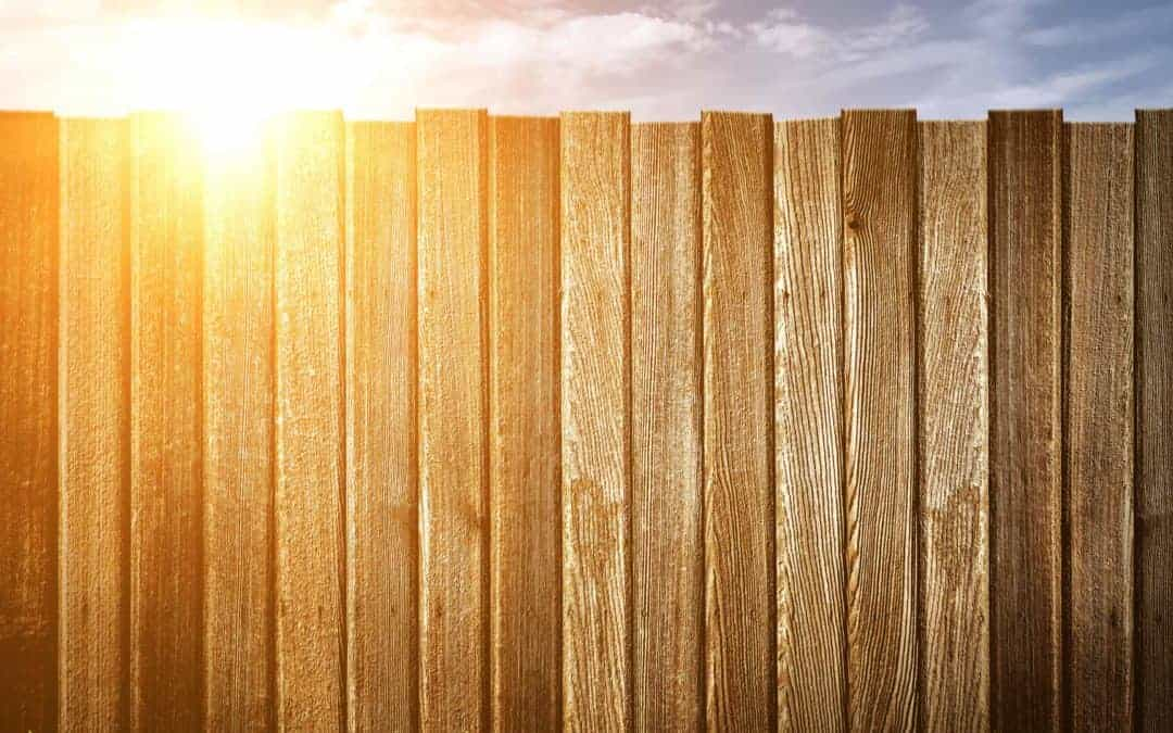 The Sun shines over the rails of a well made wooden fence