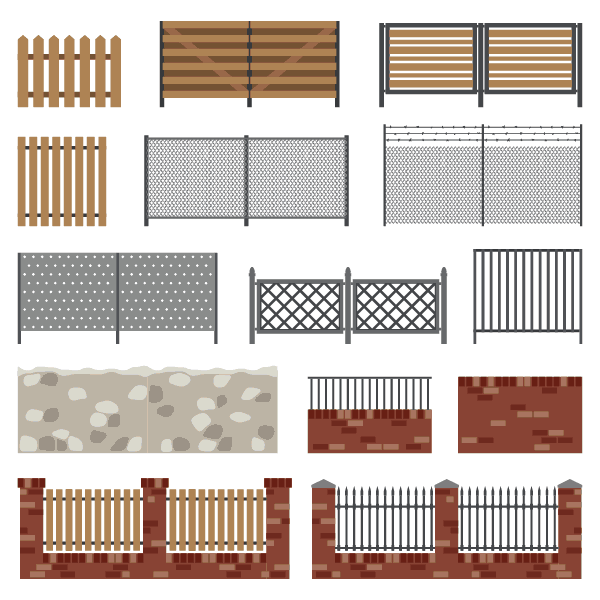 An assortment of different types of fencing available for installation