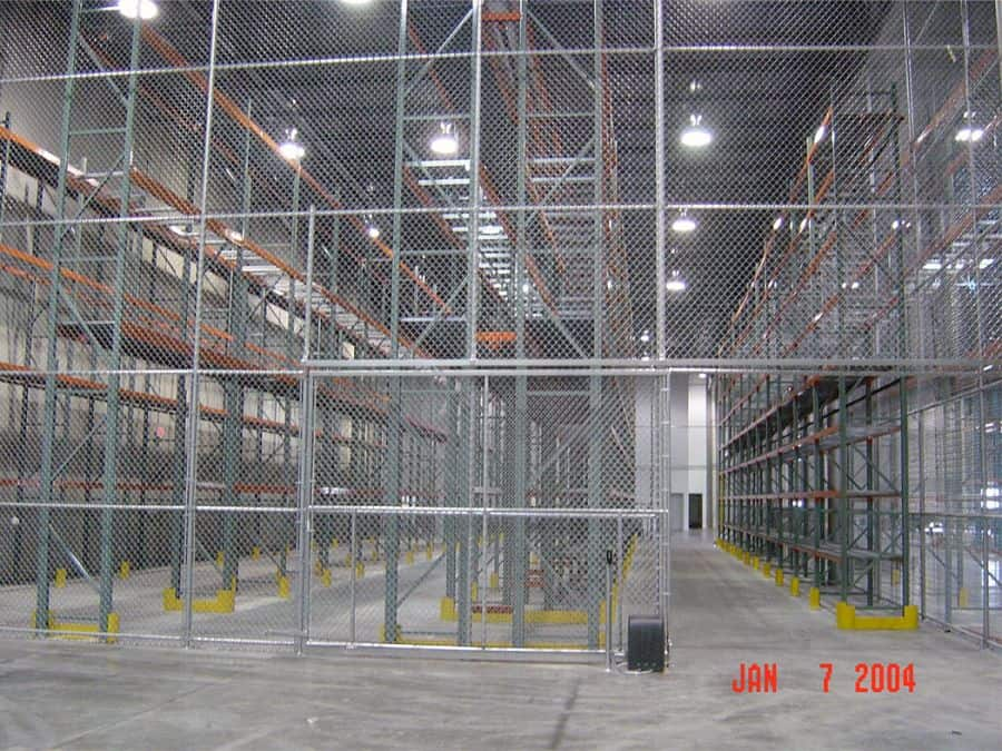 Security fencing closes off important areas of a warehouse