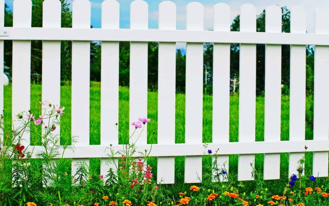 A section of white picket fence lined with Texas wild flowers in the spring