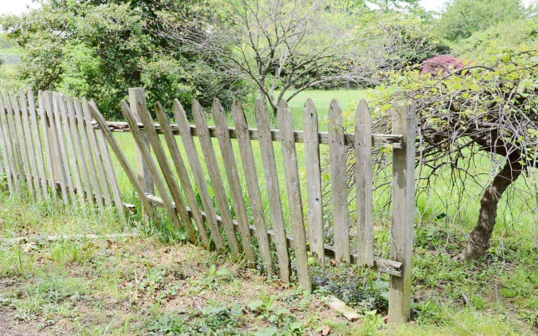 A dilapidated picket fence falls apart badly in need of repair.