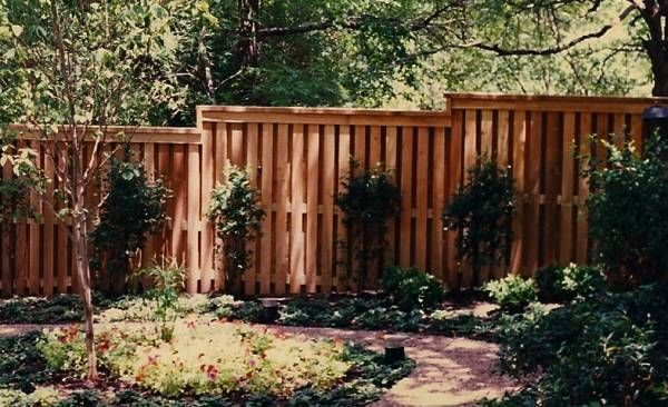Landscaping accents a tall cedar privacy fence