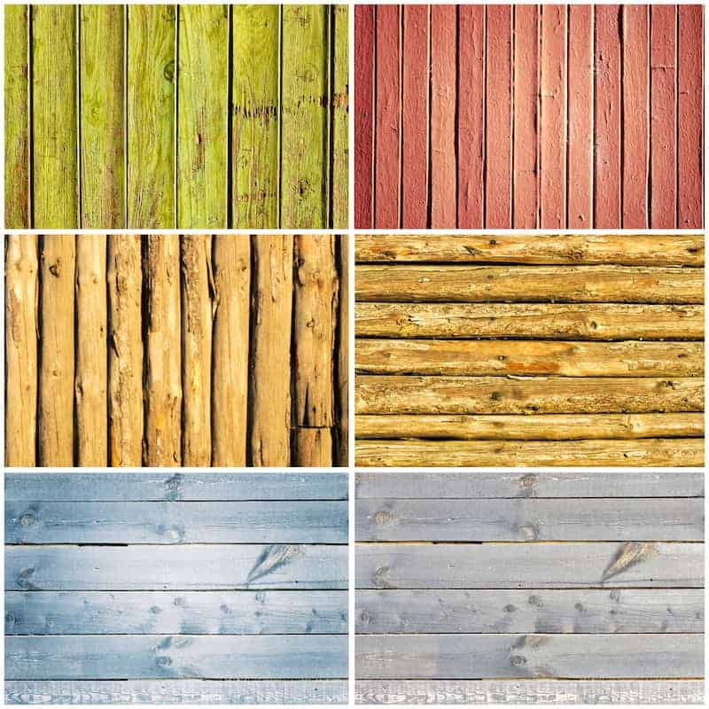 A collage of wooden fencing materials of different colors