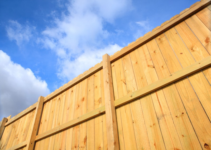 A wooden fence cuts diagonally across the screen with a blue sky and white puffy clouds