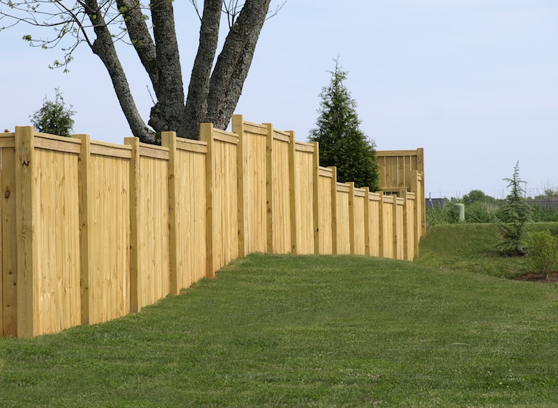 A top rail style privacy fence around a Mansfield Tx back yard