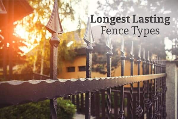 "A wrought iron fence with a sunset and a house in the background with the words ""Longest Lasting Fence Types"""